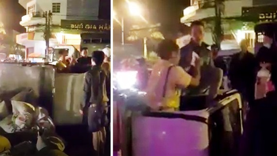 Hiện trường vụ tài xế đánh đại úy cảnh sát giao thông. Ảnh cắt từ video clip