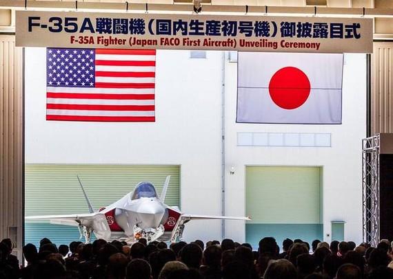 本月5日,日本國內製造的首架F35隱形戰鬥機首次對外展示。(圖源:互聯網)