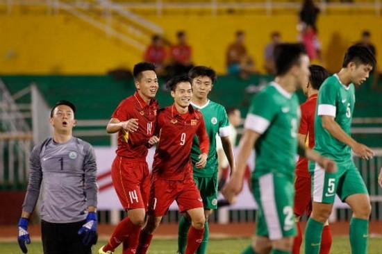 越南隊(紅衣)以8-1的比分大勝澳門隊。(圖源:互聯網)