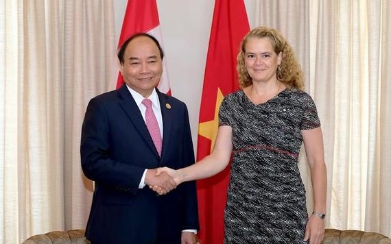 政府總理阮春福與加拿大總督朱莉‧帕耶特會晤。(圖源:VOV)