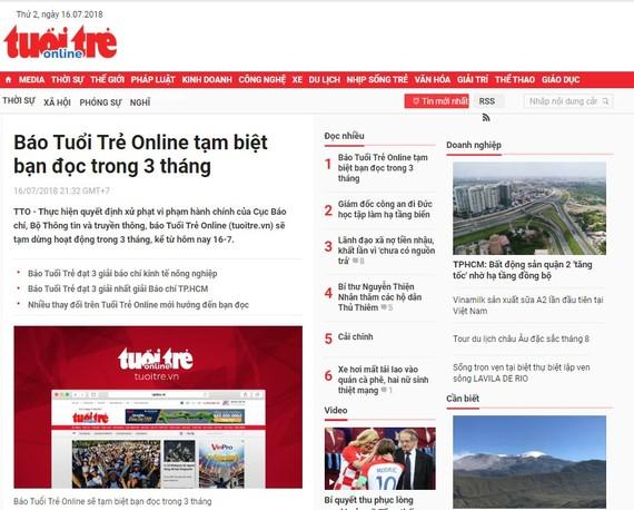 《年輕人電子報》被停刊3個月及罰款。(圖源:網站截圖)