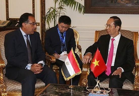 國家主席陳大光與埃及總理馬德布利會晤。(圖源:VOV)