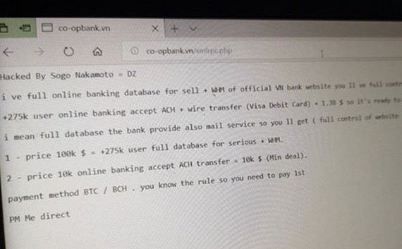 黑客在該銀行網站上留下的資訊。(圖源:Zing)