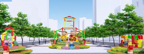 """今年阮惠春花街的主題為""""胡志明市渴望持續發展""""。"""