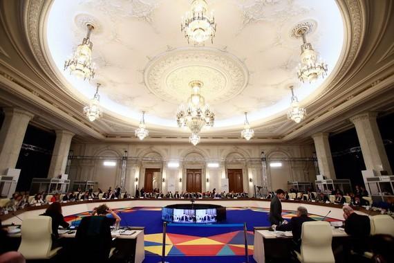 歐盟國家貿易部長非正式會議現場。(圖源:新華社)