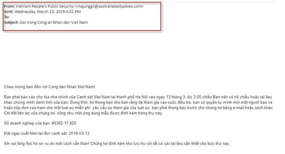 附帶GandCrab 5.2勒索病毒的一則電子郵件。(圖源:屏幕截圖)