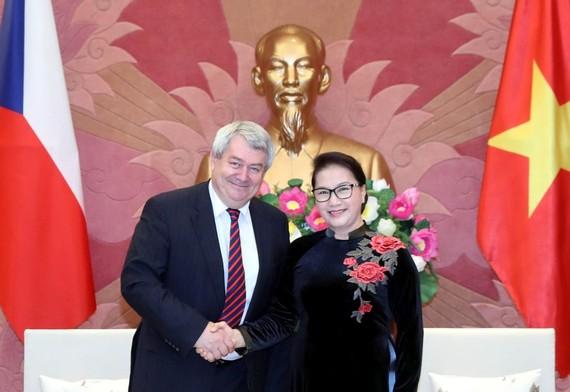 國會主席阮氏金銀(右)接見捷克共和國眾議院副議長、捷克和摩拉維亞共產黨主席沃伊捷赫‧菲利普。(圖源:越通社)