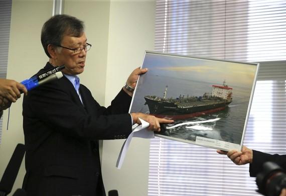 日本航運公司Kokuka Sangyo總裁出席記者會關於Kokuka Courageous油輪遇襲事件。(圖源:互聯網)