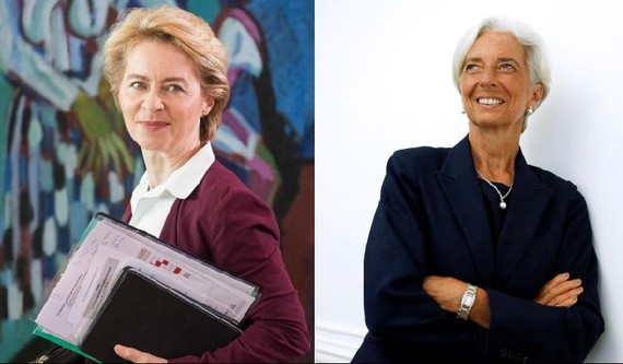 德防長馮德萊恩被提名歐盟委員會主席(左)與IMF總裁拉加德被提名歐洲央行行長。(圖源:互聯網)