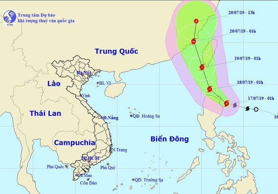 熱帶低氣壓已發展成 3 號颱風,國際名為丹娜絲 (Danas)。圖為丹娜絲颱風的移動方向。(圖源:國家水文氣象預報中心)