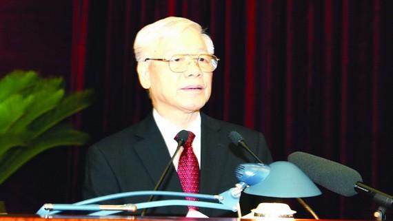 黨中央總書記、國家主席阮富仲在會上發表講話。(圖源:越通社)