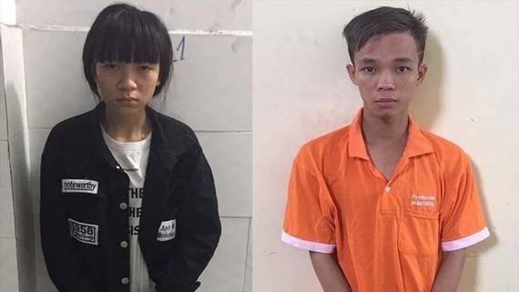 落網的兩名竊盜阮文景(右)及阮氏秋美。(圖源:警方提供)
