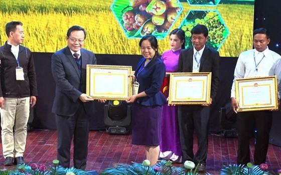 國會副主席馮國顯(左二)向對農業發展方面有卓越貢獻者頒發獎狀。(圖源:梅文寶)