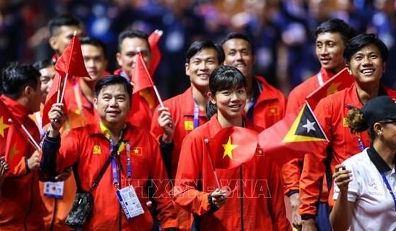 參加第三十屆東運會的越南體育代表團。(圖源:越通社)