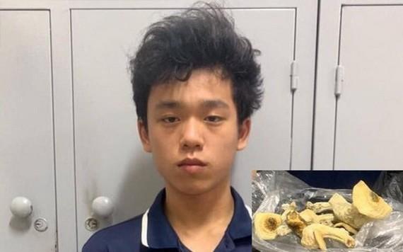 """被捕的嫌犯阮陳俊方與""""迷幻蘑菇""""的毒品物證(小圖)。(圖源:警方提供)"""