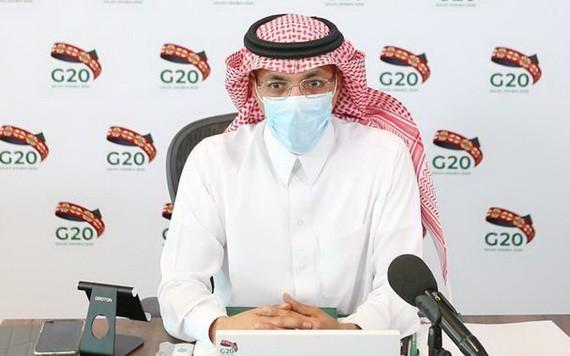 7月18日,在沙特阿拉伯利雅得,沙特財政大臣穆罕默德·賈丹出席二十國集團財長和央行行長視頻會議。(圖源:新華社)