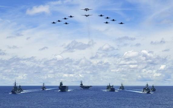 今年7月美國、日本、澳大利亞3方軍演。(圖源:Handout)