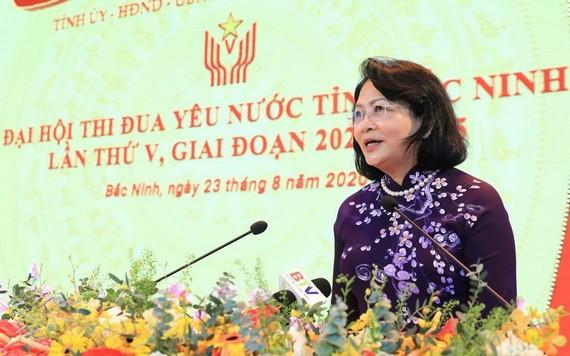 國家副主席鄧氏玉盛出席第五次北寧省愛國競賽大會並發表講話。(圖源:成達)