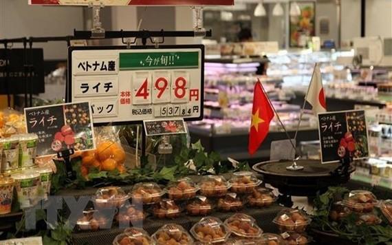 越南荔枝在Aeon超市上架銷售。(圖源:越通社)