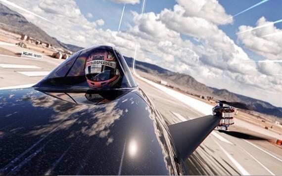 一名賽者駕駛電動飛行汽車。