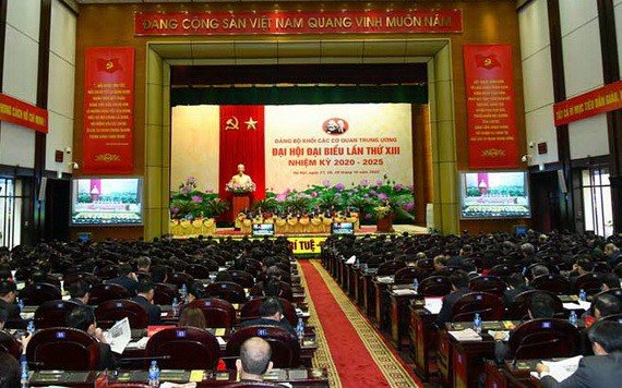 第十三次中央機關黨部代表大會昨(28)日上午在河內市正式開幕,圖為大會現場。(圖源:VGP)