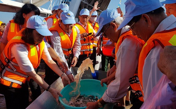 在發起儀式後,有12隻小船在環鬧河區域出發把魚兒放回大自然。(圖源:TTO)