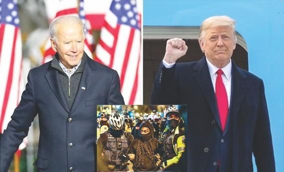 特朗普(右)或不承認選舉結果。小圖白宮外發生抗議活動3人被捕。(圖源:互聯網)