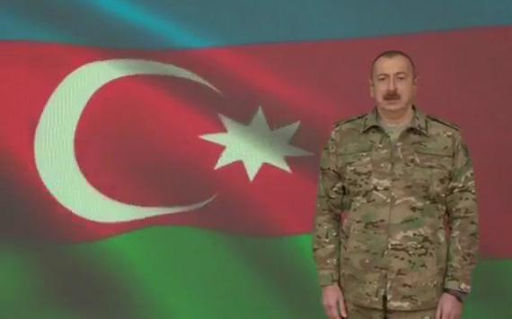 阿塞拜疆總統阿利耶夫發表講話。(圖源:AZTV)