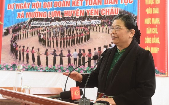 國會常務副主席從氏放在會上發表講話。(圖源:baochinhphu.vn)