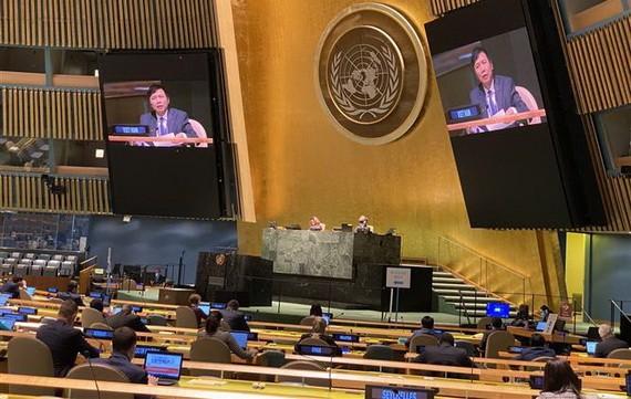 鄧廷貴大使在會議上介紹決議內容。(圖源:越通社)