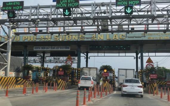 從本月28日起,職能力量將在1號國道安霜-安樂收費站檢查車輛載重。圖為安霜-安樂收費站。(圖源:心安)