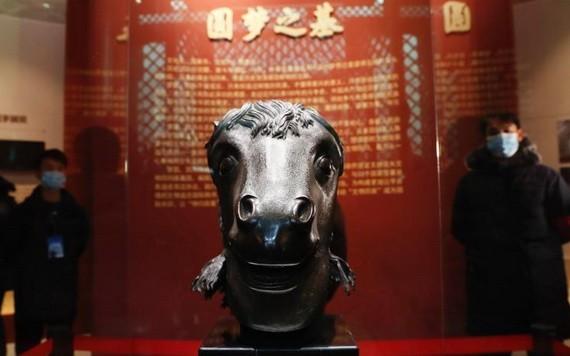 在圓明園正覺寺文殊亭展出的馬首。(圖源:互聯網)
