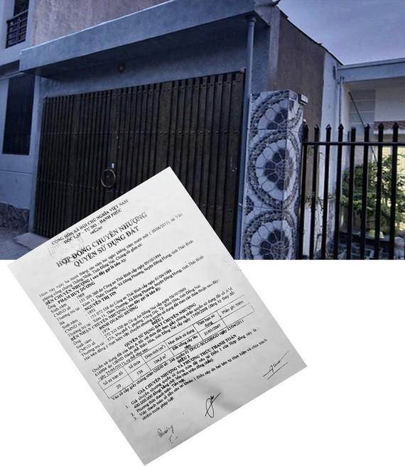 阮氏信的房地產(大圖)已轉讓給他人和偽造轉讓合同。
