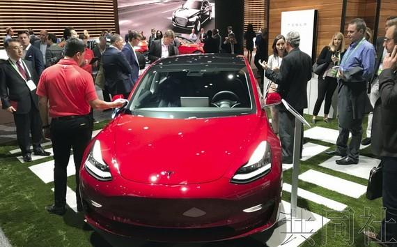 特斯拉的一款電動汽車。(圖源:共同社)