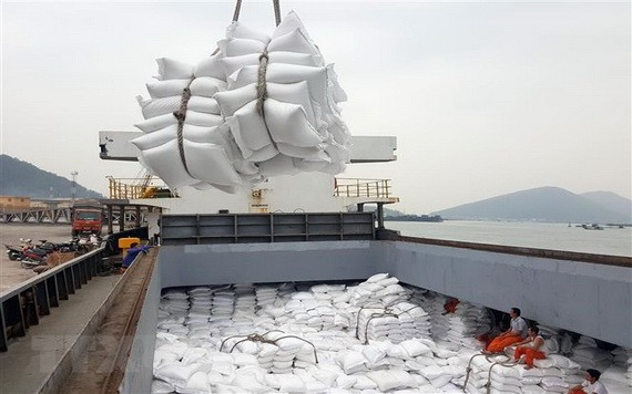 图为大米出口装船。(图源:耀基)