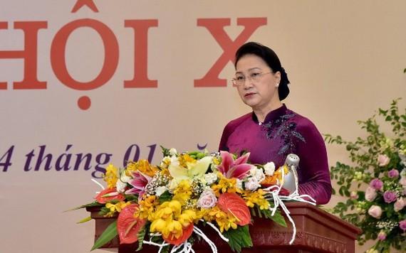 國會主席阮氏金銀在會上致詞。(圖源:林顯)