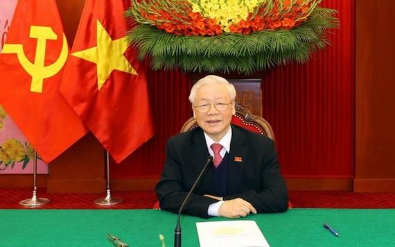 總書記、國家主席阮富仲致電給老撾總書記、總理通倫‧西蘇里。(圖源:越通社)