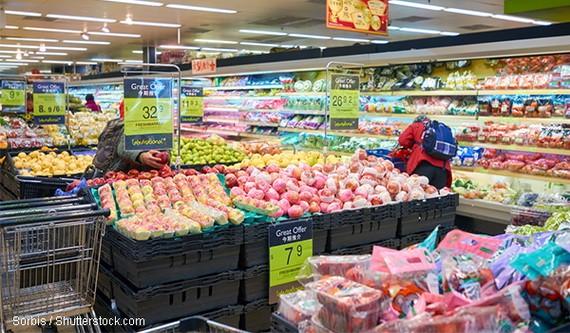 去年12月香港超級市場貨品銷貨價值逆市上升11.7%。(圖源:Shutterstock))