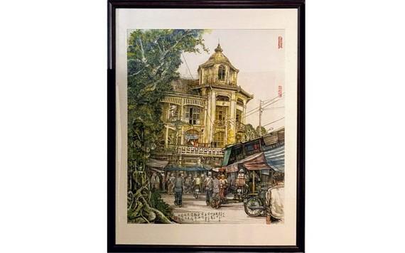 人民藝人張路畫作《昔日堤岸平西街市一隅》。
