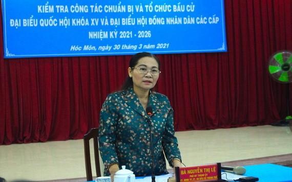 市委副書記阮氏麗在會上發言。(圖源:黎叉)