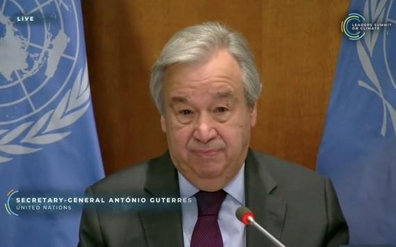 聯合國秘書長古特雷斯以視頻方式出席領導人氣候峰會,並發表致辭。(圖源:視頻截圖)