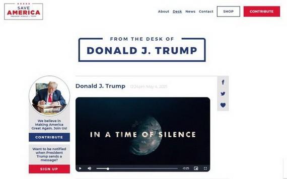 美國前總統特朗普開通的網站截圖。