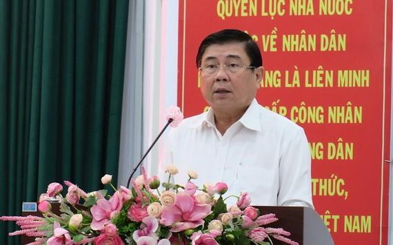 市人委會主席阮成鋒會上發表講話。(圖源:市黨部新聞網)