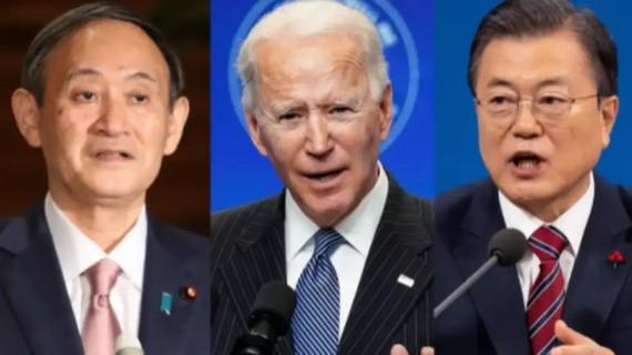 日美韓三國領導人。(圖源:互聯網)