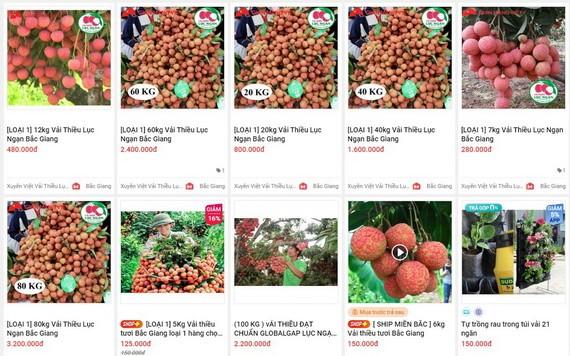在Sendo電子商務平台上所推銷的陸岸荔枝。(圖源:網站截圖)