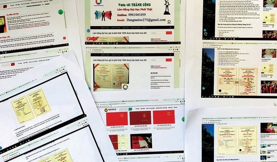 網上公開承辦各種文憑和證書。