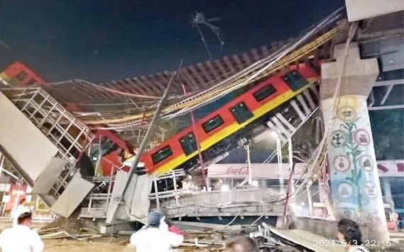 墨西哥城高架橋倒塌,造成多人死傷。(圖源:互聯網)