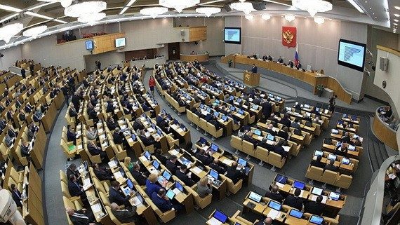 圖為俄羅斯國家杜馬會議現場。(圖源:Sputnik)