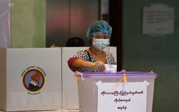 圖為 2020年11月8日緬甸選民在仰光的一個投票站投票。(圖源:AFP)