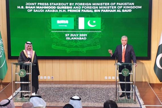 沙特外交大臣費薩爾‧本‧法爾漢‧阿勒沙特27日在伊斯蘭堡與巴基斯坦外長沙阿‧馬哈茂德‧庫雷希舉行了代表團級會談。(圖源:路透社)